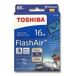 フラッシュエアー 16GB<br>無線LAN搭載 SDHCカード<br> Flash Air 第4世代 W-04<br>TOSHIBA 東芝<br>海外パッケージ品(メール便対応)