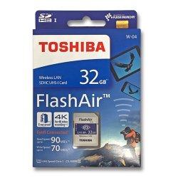 フラッシュエアー 32GB<br>無線LAN搭載 SDHCカード<br> Flash Air 第4世代 W-04<br>TOSHIBA 東芝<br>海外パッケージ品(メール便対応)