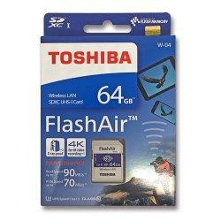 フラッシュエアー 64GB<br>無線LAN搭載 SDXCカード<br> Flash Air 第4世代 W-04<br>TOSHIBA 東芝<br>海外パッケージ品(メール便対応)