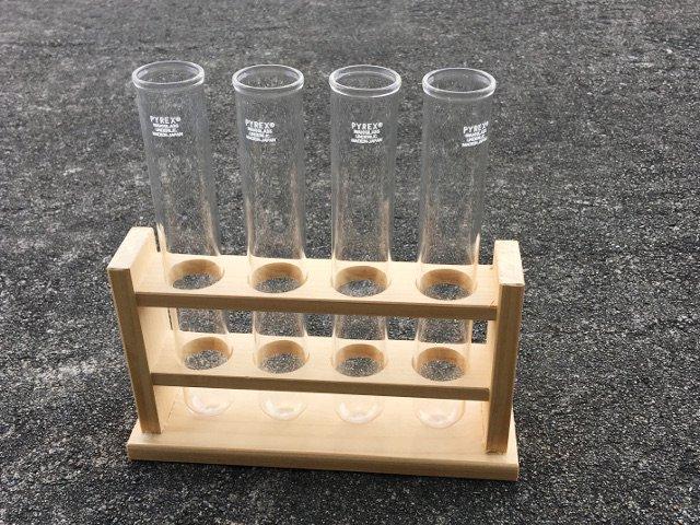 木製 試験管立て(シリコン栓付4本セット)