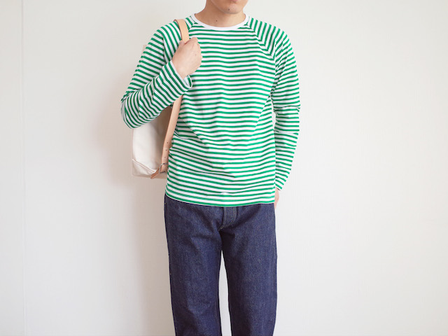 Charpentier de Vaisseau Middle Stripe Long Sleeve Green × White