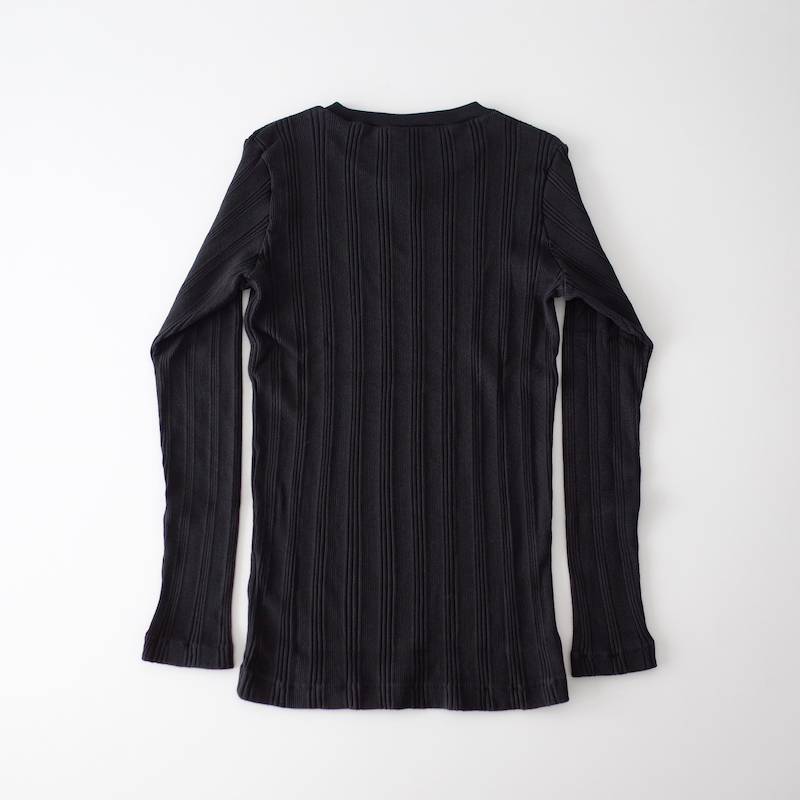 Ohh! オー Cotton Silk Random L/S Crew Black