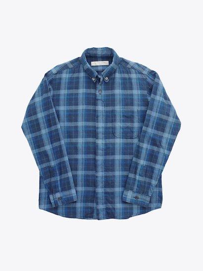nisica  長袖ボタンダウンシャツ Blue Check