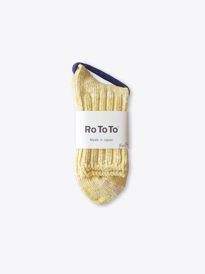 RoToTo Low Gauge Slub Socks - Yellow