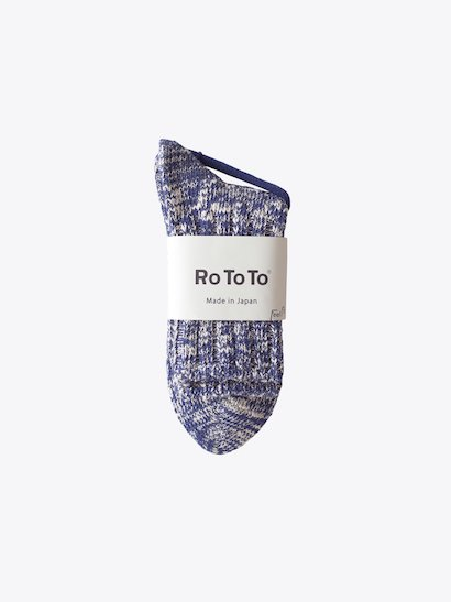 RoToTo Low Gauge Slub Socks - Navy
