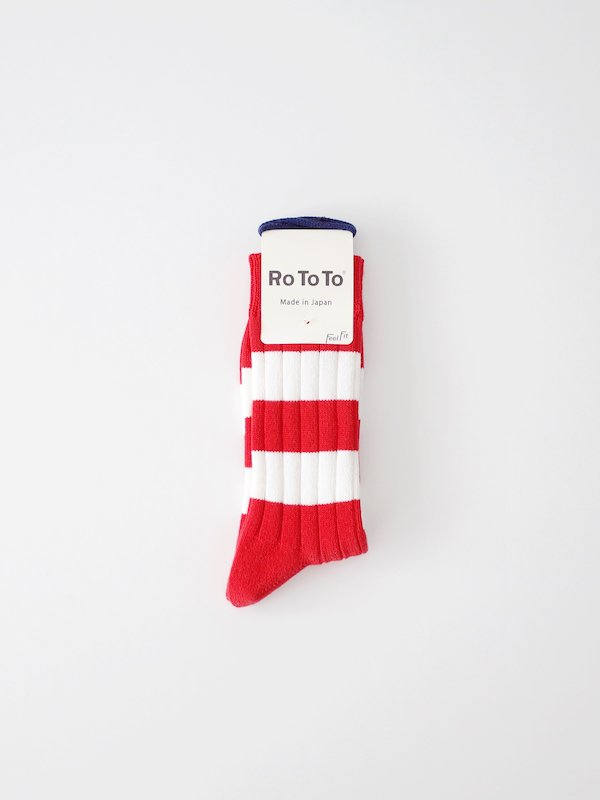 RoToTo Wide Border Rib Socks - Red
