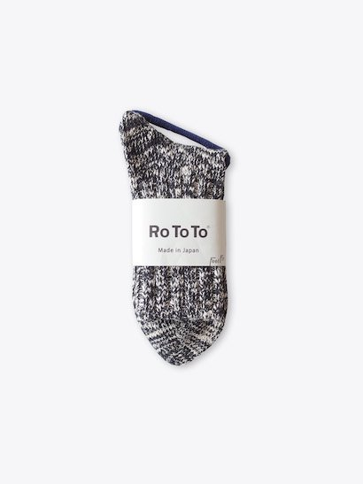 RoToTo Low Gauge Slub Socks - Black