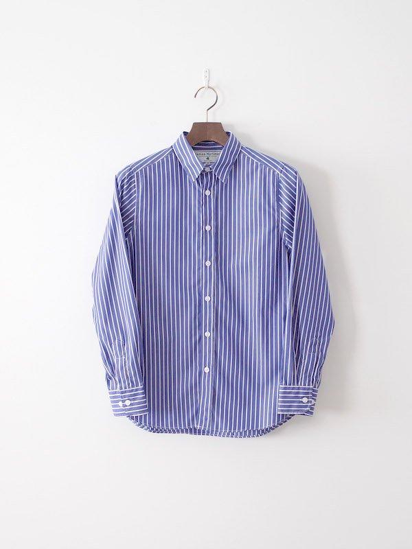 James Mortimer レギュラーカラーシャツ Blue×White(レディース)