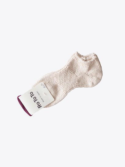 RoToTo Low Gauge Slub Socks Short - Ecru