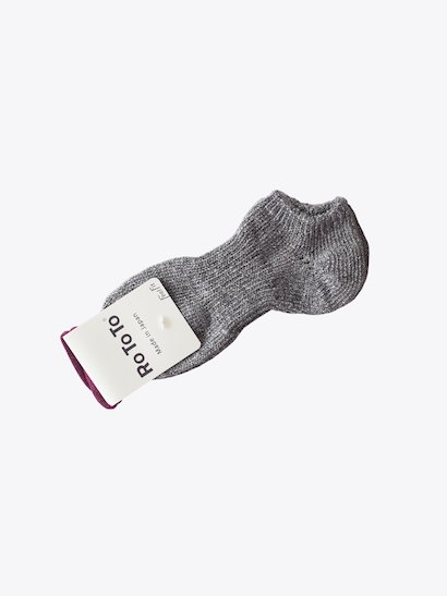 RoToTo Low Gauge Cotton Rib Socks Short - Charcoal