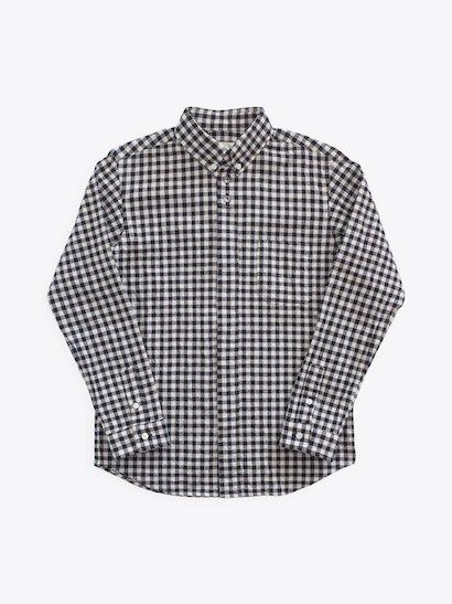 nisica  長袖ボタンダウンシャツ ギンガムチェック White × Black
