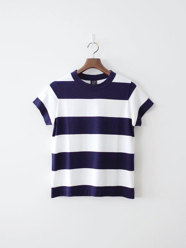 homspun 60/2 天竺太ボーダー半袖Tシャツ サラシ × ネイビー