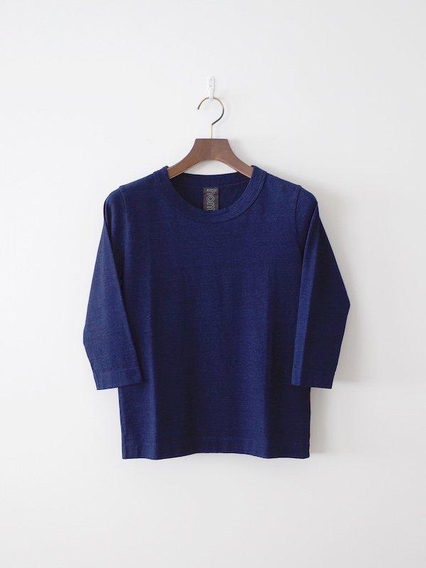 homspun 40/2 インディゴ天竺七分袖Tシャツ 濃インディゴ