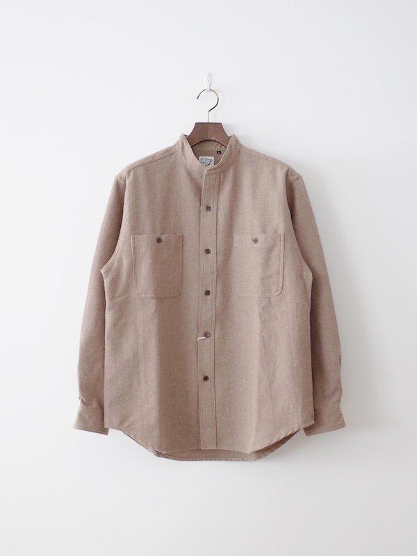 orSlow Stand Collar Shirt Cotton Wool - Khaki