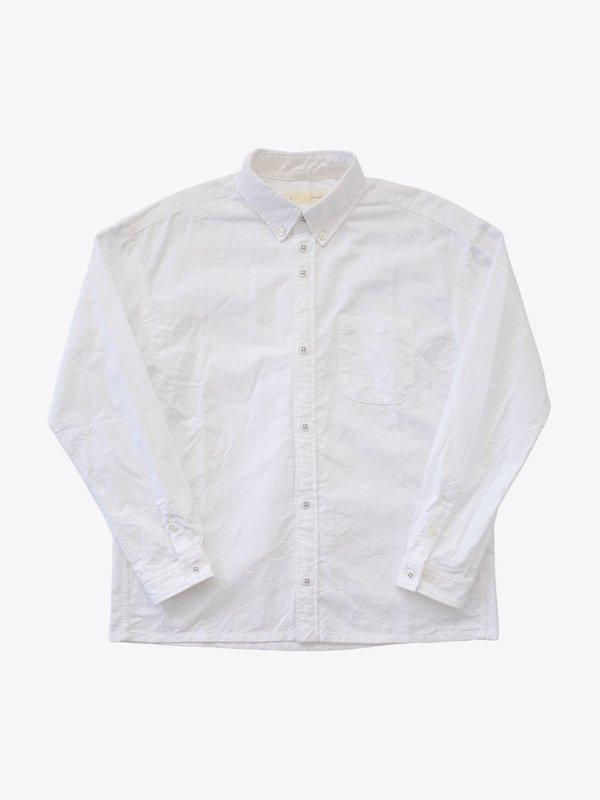 nisica ルーズフィット長袖ボタンダウンシャツ White