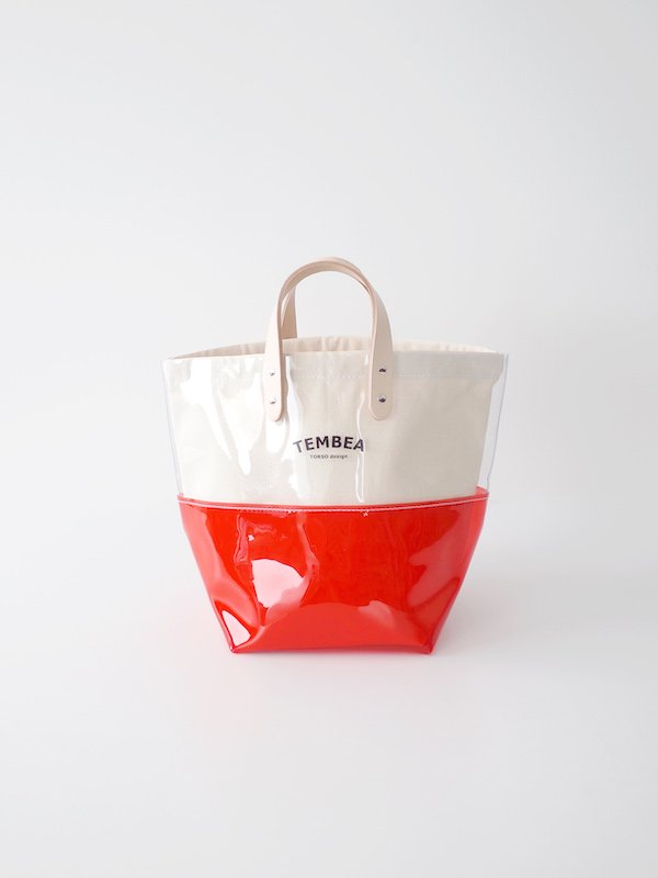 TEMBEA Delivery Tote 2Tone PVC - Clear / Red