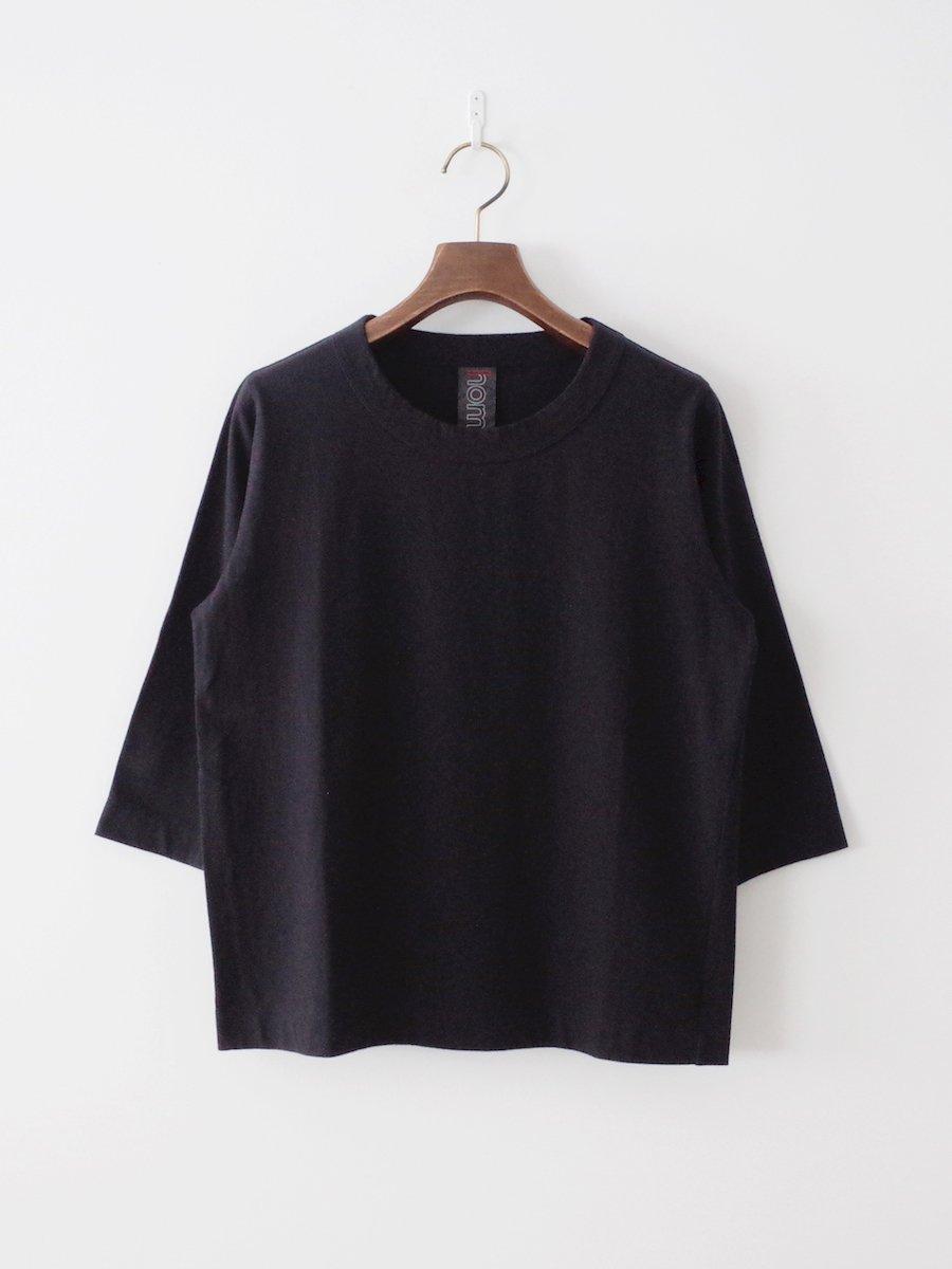 homspun 天竺七分袖Tシャツ ブラック