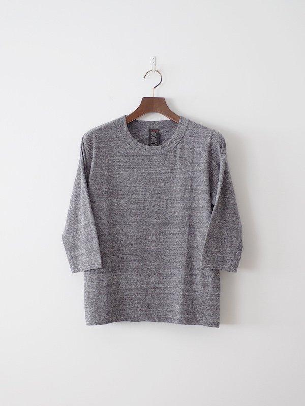 homspun 天竺七分袖Tシャツ 粗挽杢チャコール