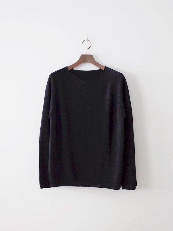 F/style ホールガーメントのウールニット 丸首・長袖(ユニセックス)ブラック