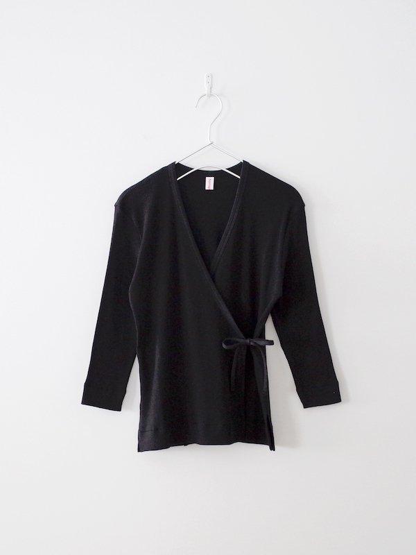 homspun 丸胴テレコ 七分袖カシュクールカーディガン ブラック