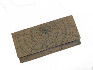 蜘蛛の巣布長財布 薄柳鼠色