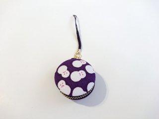 マカロンタイプ小物入「雪だるま 紫色」~頑張れ日本負けるな日本!応援セール