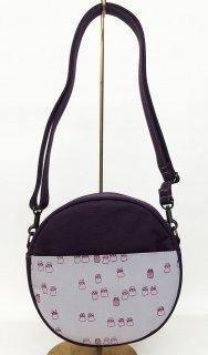 丸っこバッグ「amusant」 ベルト付き 濃紫色 猫文~頑張れ日本負けるな日本!応援セール