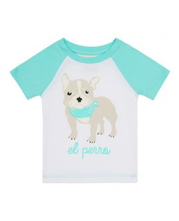 30% OFF T-Shirt Dog ブルドッグ柄-GREEN