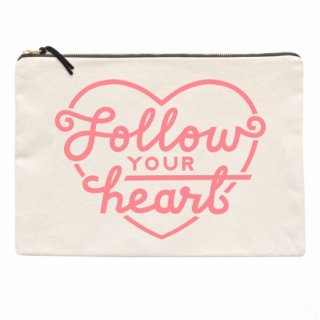 Follow YOUR heart  ナチュラルキャンバスポーチXL