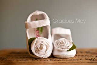 White Silk Rosette Shoes