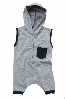 50% OFF Hooded Romper Color Grey フードロンパー グレイ