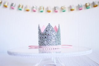 Glitter Crown with Pom Pom Trim<br>Silver