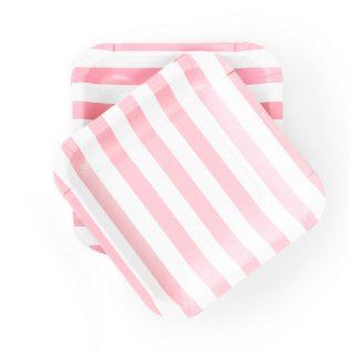 Light Pink Striped Plates<br>set of 12