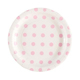 White with Pink Polka Dot Plates set of 12