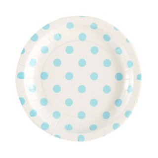 White with Blue Polka Dot Plates set of 12