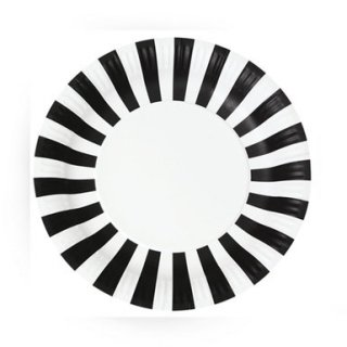 Black Striped Paper Plates set of 12