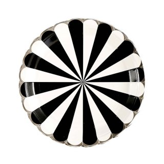 Black Scallop Paper Plates set of8