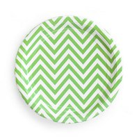 Green Chevron Paper Plates set of8