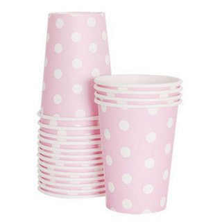 Pink with White Polka Dot Paper Cups<br>set of12
