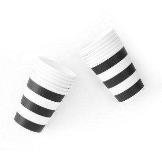 Black Stripe Paper Cups set of12