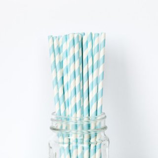 Light Blue Striped Straws set of 24