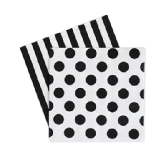 Black Mini Napkins set of 20