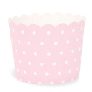 Baking Cups- Light Pink with White Polka Dot set of 25