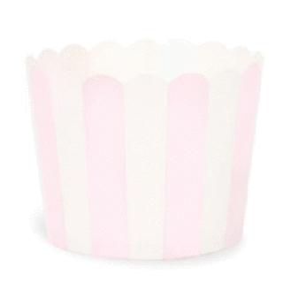 Baking Cups-<br>Light Pink with White Stripes<br>set of 25