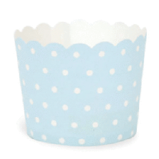Baking Cups- Light Blue with White Polka Dot set of 25