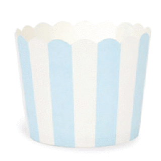 Baking Cups- Light Blue with White Stripes set of 25