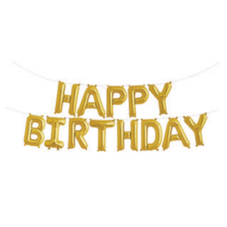 Happy Birthday Balloon Banner-Gold