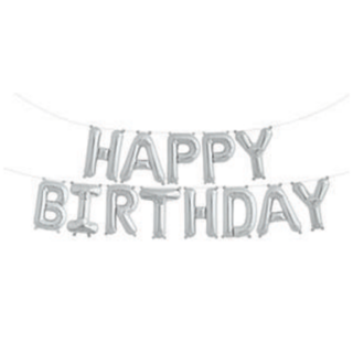 Happy Birthday Balloon Banner-Silver