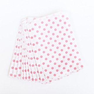 Polka Dot Paper Bags-Pink Set of 12