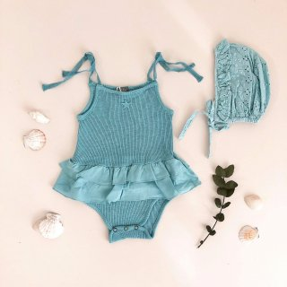 Ribbed body with double ruffle<br>100% organic cotton